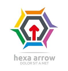 Hexagon arrow icon abstract vector