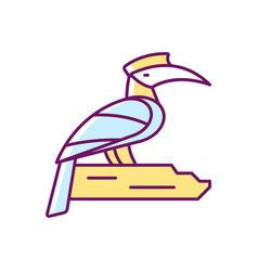 Hornbill rgb color icon vector