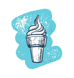 Ice cream cone hand drawn icon vector