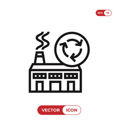 industrial factory with a recycle icon vector image