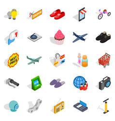 internet marketing icons set isometric style vector image