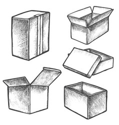 isolated boxes sketches or hand drawn realistic vector image