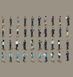 Isometric big set of business men business women vector