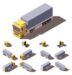 Isometric truck with tilt box semi-trailer vector