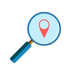 Magnifying glass with geo pin vector image