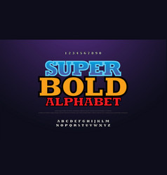 modern bold font 3d with shadow alphabet vector image