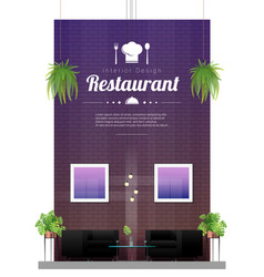 Modern restaurant with table and chairs scene vector