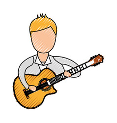 musician playing guitar avatar vector image