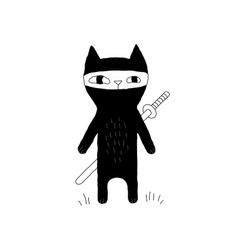 Ninja Cat Drawing vector