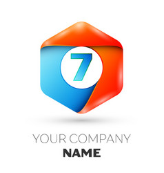 Number seven logo in the colorful hexagonal vector
