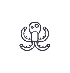octopus line icon sign on vector image