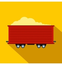Open rail car flat icon vector