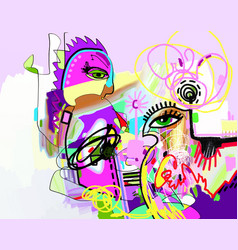 Original digital contemporary art composition vector