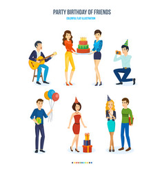 Party birthday friends songs cake gifts vector
