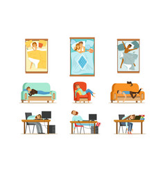 people sleeping in different positions at home and vector image