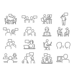 people talk negotiation speech thin line icons vector image