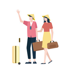 people wearing special chinese hats with baggage vector image