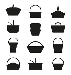 picnic baskets silhouettes vector image