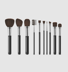Realistic detailed cosmetic brushes narrow set vector