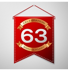 Red pennant with inscription Sixty three Years vector