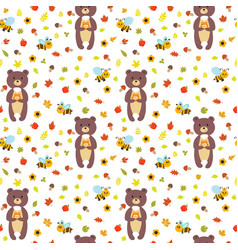 Seamless pattern with funny bears and bees cute vector