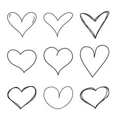 set black grunge hearts vector image