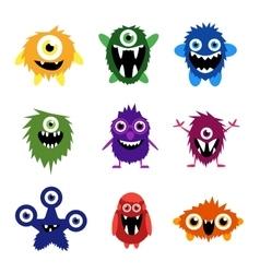 Set cartoon cute monsters and aliens vector