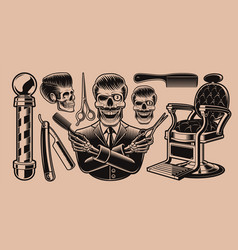 set elements for barbershop theme on a dark vector image