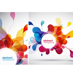 Set of abstract colored backgrounds with leafs vector image
