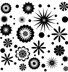 Set of Flowers Black and White vector image