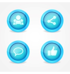 Set of glossy social icons vector image