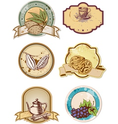 set of hand drawn food and drink labels vector image