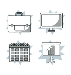 set of office and business elements vector image