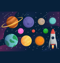 set planet with spaceship or rocket and galaxy vector image