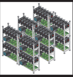 Several isometric crypto currency mining vector