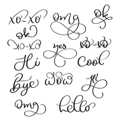 short words on white background hand drawn vector image
