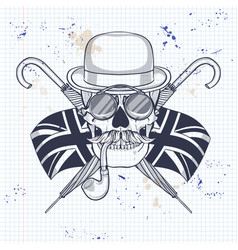 sketch british skull vector image