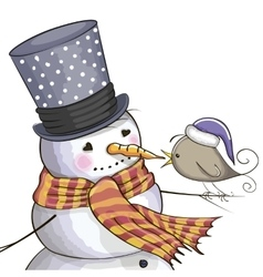 Snowman and bird vector