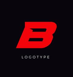 Speed letter b red race monogram logo italic vector