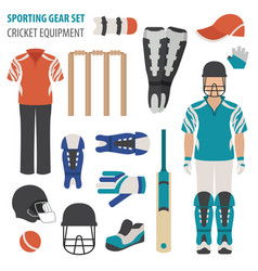 Sporting gear set cricketer equipment and vector