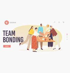 Teamwork team bonding landing page template vector