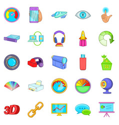 Technique icons set cartoon style vector