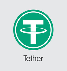 Tether digital currency usdt pictogram vector