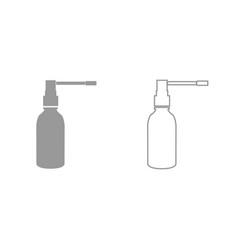 Throat spray grey set icon vector
