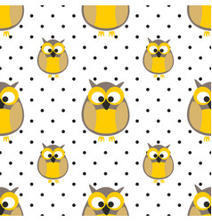 tile pattern with owls and dots on grey background vector image