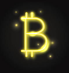 Transparent neon bitcoin sign vector