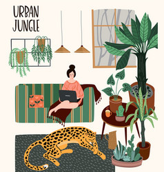 Urban jungle with trendy home vector
