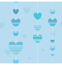valentine pattern with striped hearts in blue vector image
