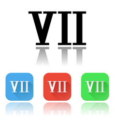 Vii roman numeral icons colored set vector