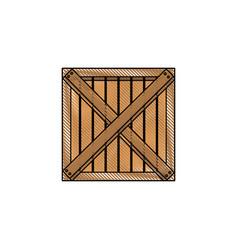 Wooden box cargo delivery merchandise vector